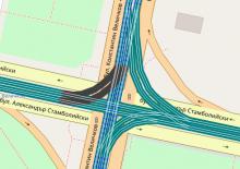 Screenshot of OpenStreetBrowser, showing rails in Sofia, Bulgaria (narrow, normal and dual gauge).