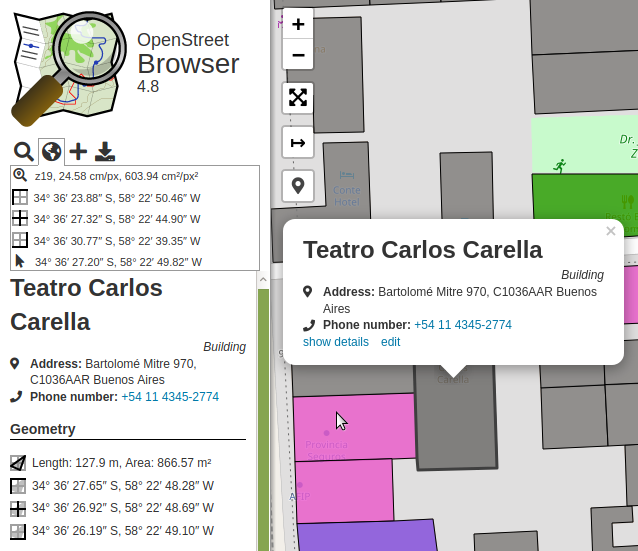 OpenStreetBrowser showing map view details and map feature details