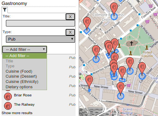 Gastronomy category filtered for pubs in Birmingham, showing possible additional filters.