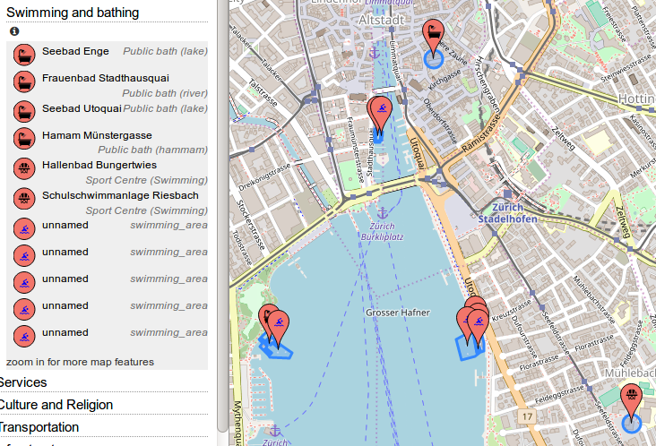 "Screenshot of OpenStreetBrowser showing the ""Swimming and Bathing"" category"